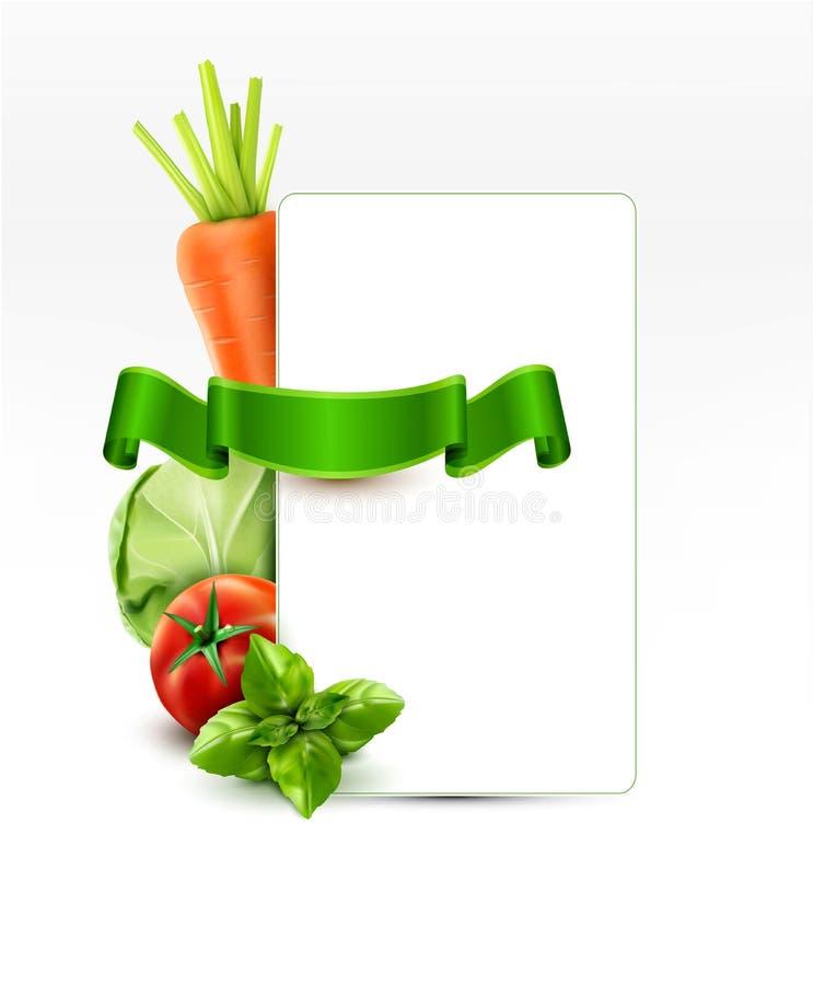Dirigez le modèle de menu avec des carottes de légumes, chou, basilic, à illustration libre de droits