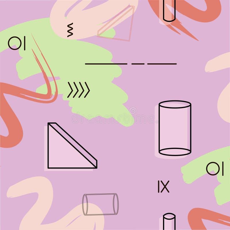 Dirigez le modèle de triangle et de cylindre dans la couleur violette Décoration abstraite verte géométrique Répétez la conceptio illustration de vecteur
