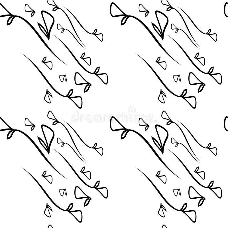 Dirigez le modèle des éléments monochromes de noir d'usine sur un CCB blanc illustration de vecteur