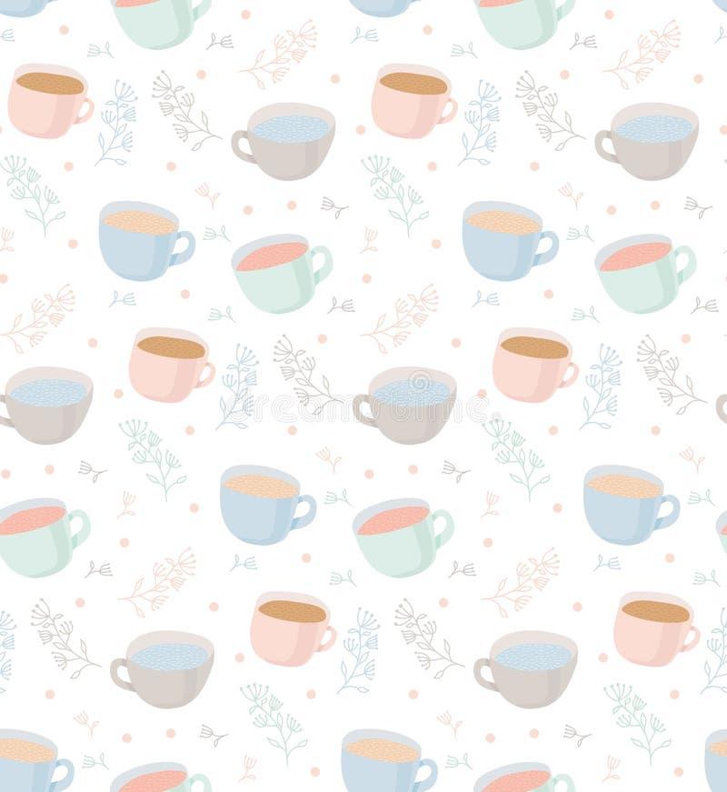 Dirigez le modèle des tasses de thé et de café avec des éléments d'usine Empreinte digitale illustration libre de droits