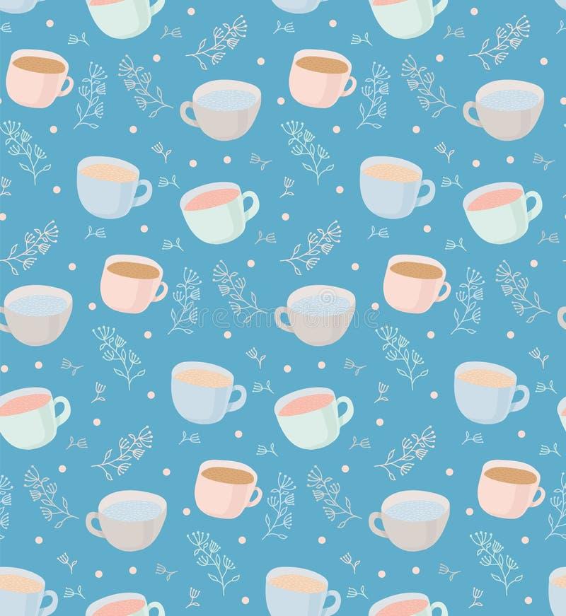 Dirigez le modèle des tasses de thé et de café avec des éléments d'usine Illustration sur le fond bleu illustration de vecteur