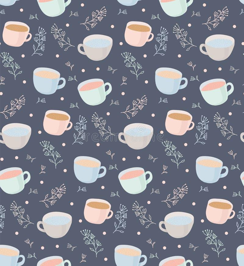 Dirigez le modèle des tasses de thé et de café avec des éléments d'usine illustration sur le fond gris illustration stock