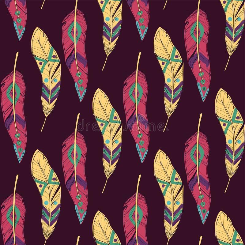 Dirigez le modèle ethnique sans couture coloré avec les plumes décoratives illustration de vecteur