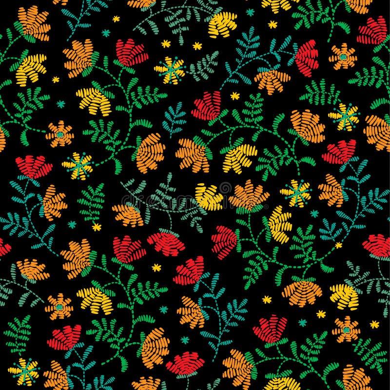 Dirigez le modèle floral décoratif sans couture de broderie, ornement pour le décor de textile Fond fait main de Bohème de style illustration de vecteur