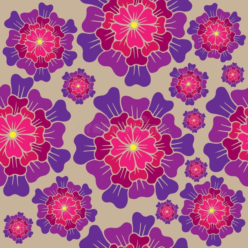 Dirigez le modèle floral sans couture avec la fleur rose sur le beige illustration stock