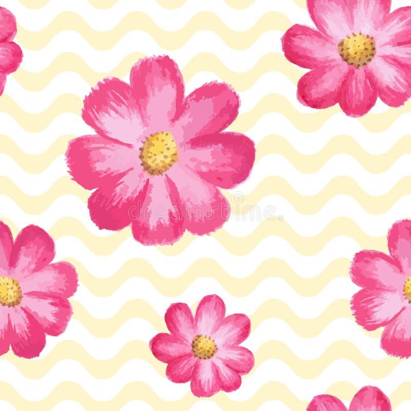 Dirigez le modèle floral sans couture avec les fleurs roses de cosmos illustration libre de droits