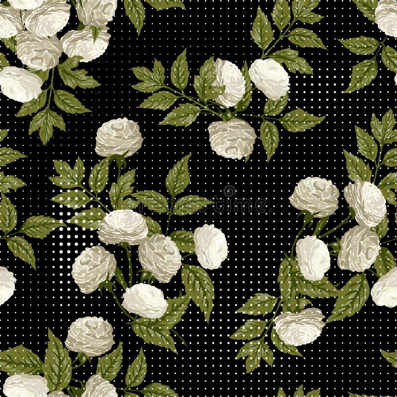 Dirigez le modèle floral sans couture avec les roses blanches sur le backgro noir illustration stock