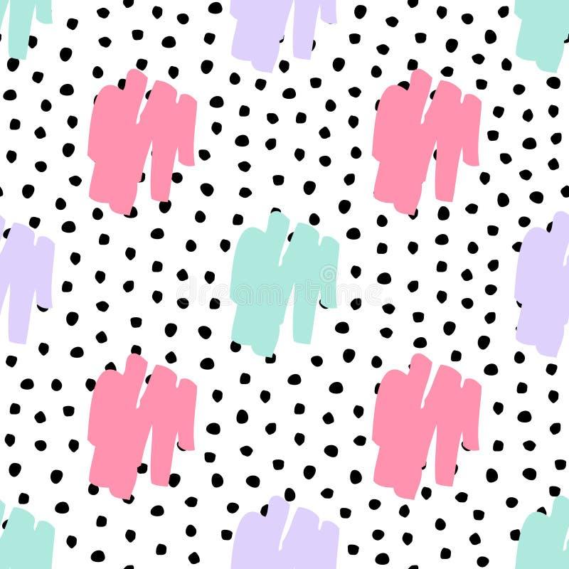 Dirigez le modèle géométrique et de polka de point malpropre à la mode sans couture illustration libre de droits