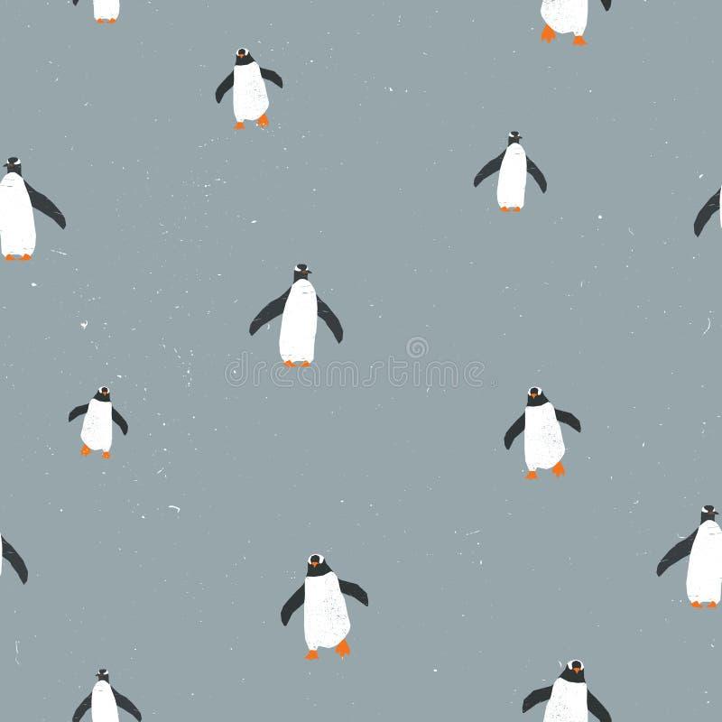 Dirigez le modèle graphique sans couture avec des pingouins et texture grunge et la neige sur le fond Pour des plaquettes, brochu illustration stock