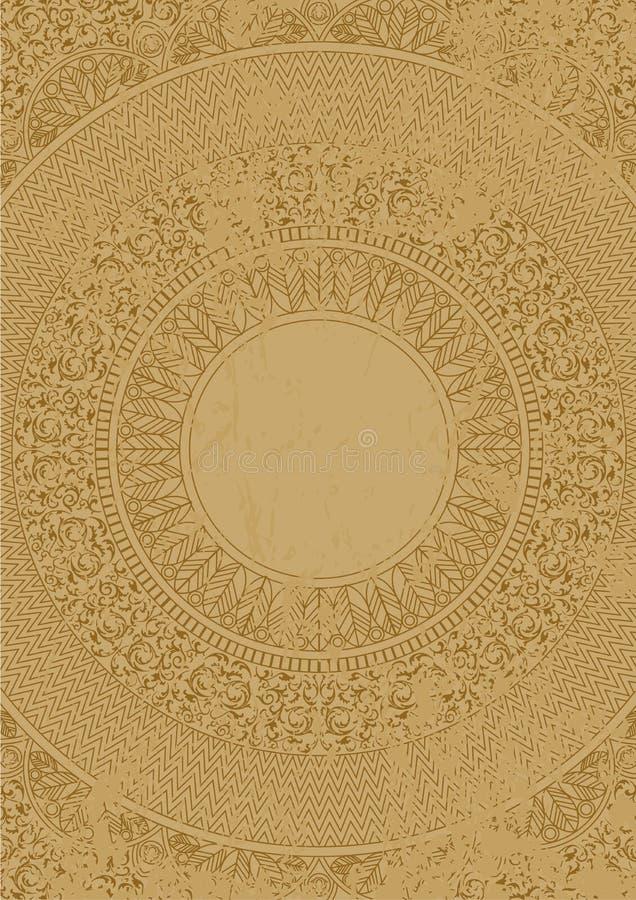 Dirigez le modèle mexicain antique affligé sur la dalle de marbre illustration stock