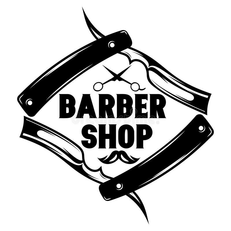 Dirigez le modèle monochrome pour le raseur-coiffeur avec la moustache, rasoir, ciseaux illustration de vecteur