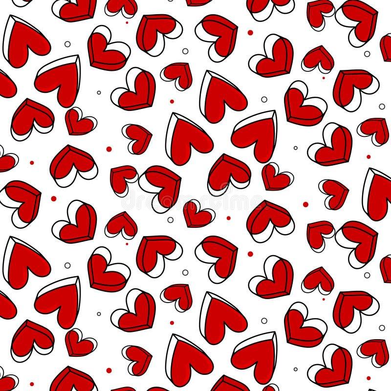 Dirigez le modèle romantique, point de polka avec le coeur rouge Peut être employé pour le papier peint, motif de remplissage, fo illustration libre de droits