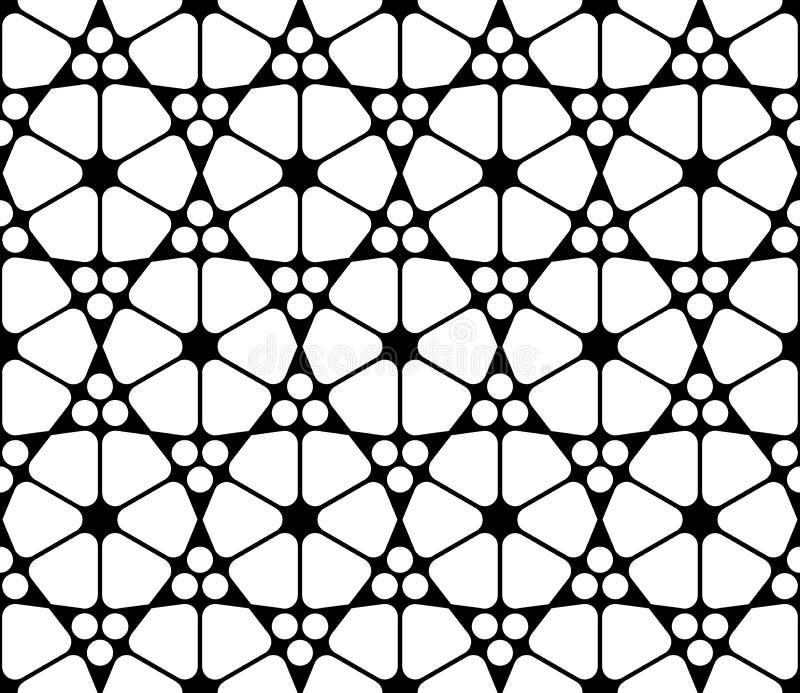 Dirigez le modèle sacré sans couture moderne de la géométrie islamique, résumé noir et blanc illustration libre de droits