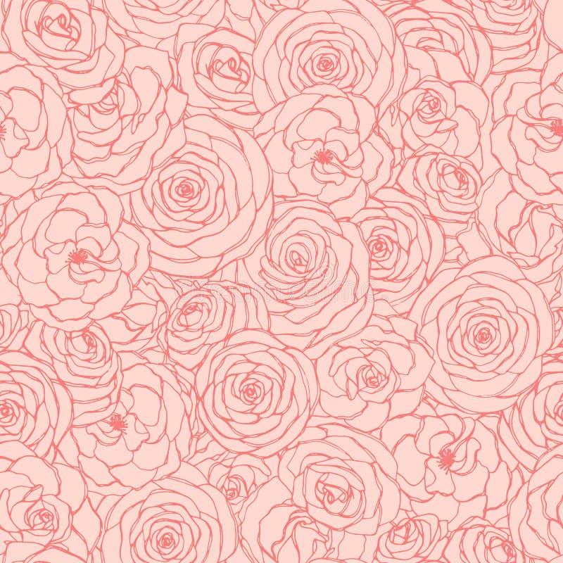 Dirigez le modèle sans couture avec le contour rose de fleurs sur le fond rose Ornement floral tiré par la main de répétition illustration stock