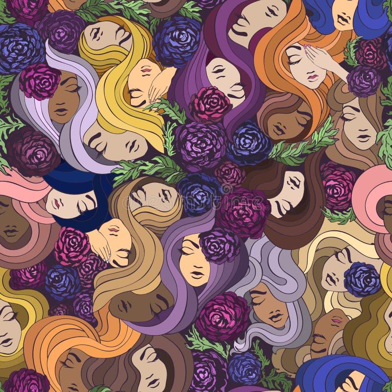 Dirigez le modèle sans couture avec de jolis femmes, fleurs et cheveux illustration de vecteur