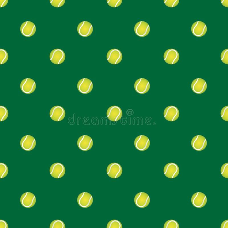 Dirigez le modèle sans couture avec de la balle de tennis sur un fond vert Le contexte élégant de thèmes de sports pour des texti illustration libre de droits