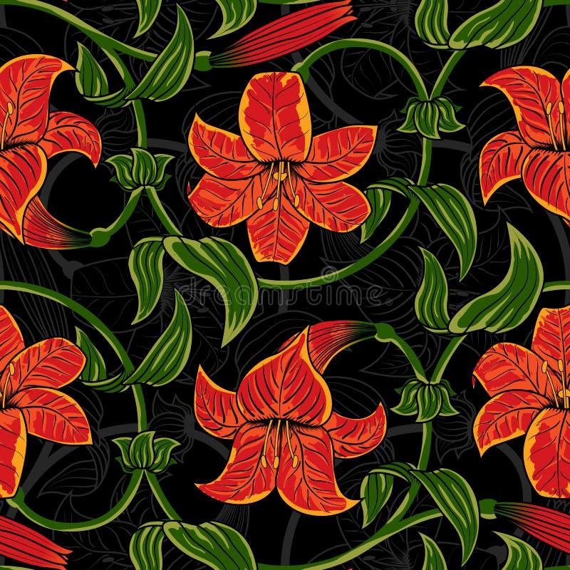 Dirigez le modèle sans couture avec des fleurs de lis sur le fond foncé été tropical, couleurs vert clair et oranges illustration libre de droits