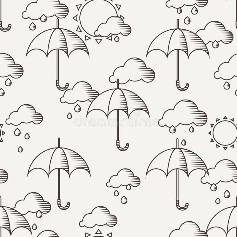 Dirigez le modèle sans couture avec des parapluies sous la pluie illustration libre de droits