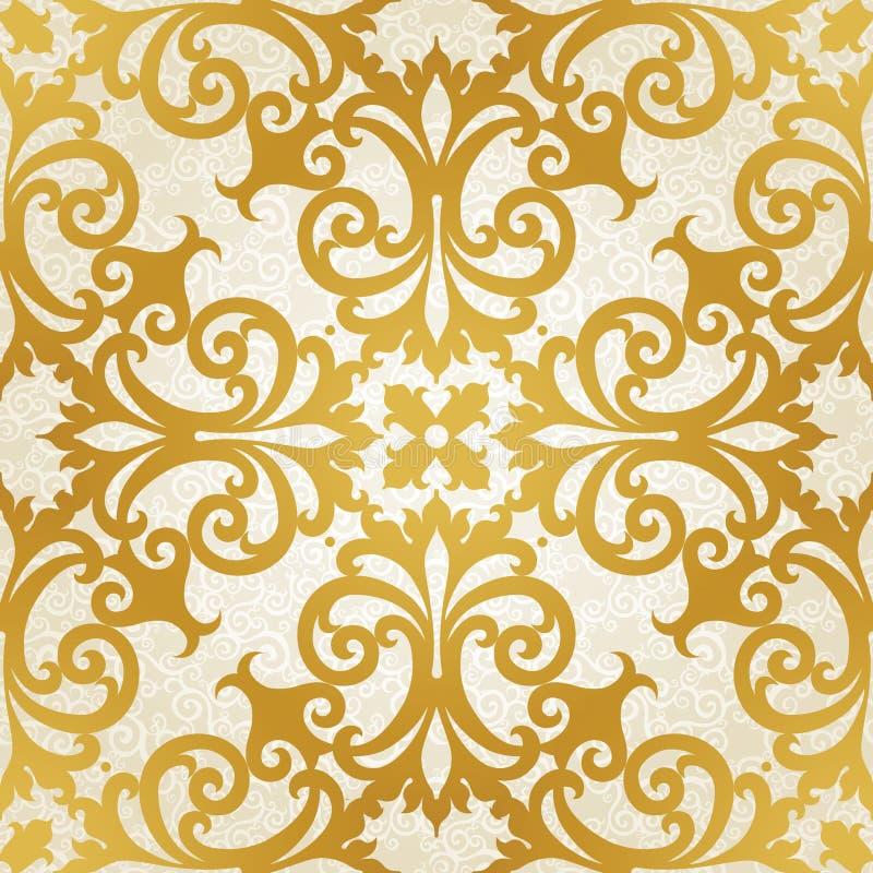 Dirigez le modèle sans couture avec des remous et des motifs floraux dans le rétro style. illustration libre de droits