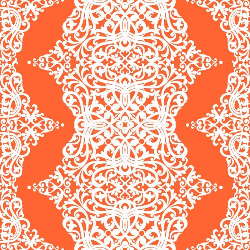 Dirigez le modèle sans couture avec des remous et des motifs floraux dans le rétro style. illustration de vecteur