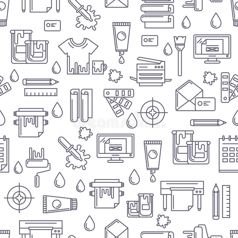 Dirigez le modèle sans couture avec des symboles et des icônes linéaires d'impression illustration stock