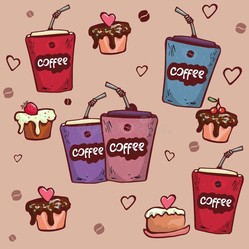 Dirigez le modèle sans couture avec l'illustration tirée par la main de petit déjeuner ou de café de matin pour le menu de restau illustration stock
