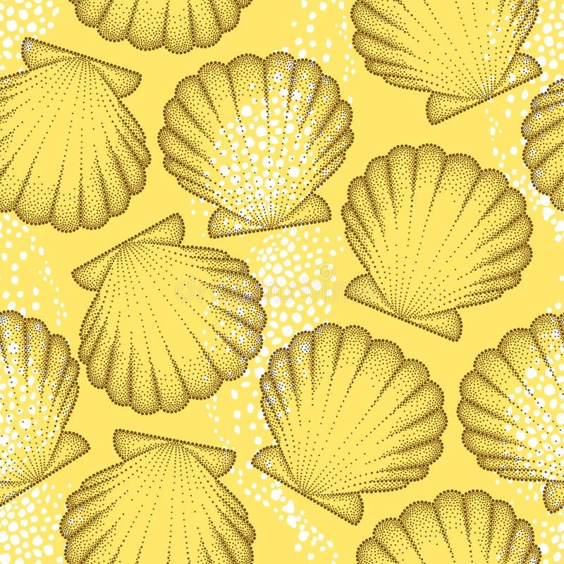 Dirigez le modèle sans couture avec la coquille pointillée de mer ou le crantez dans le brun sur le fond orange Thème marin illustration de vecteur