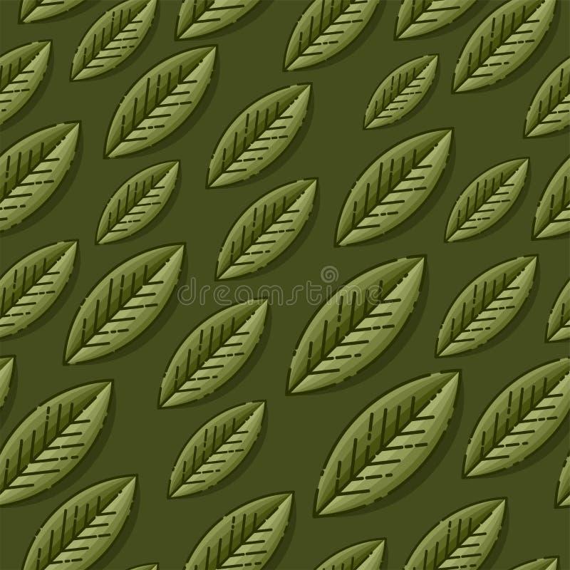 Dirigez le modèle sans couture avec la feuille sur le fond vert-foncé Calibre pour des papiers peints, fond de site, conception d illustration de vecteur