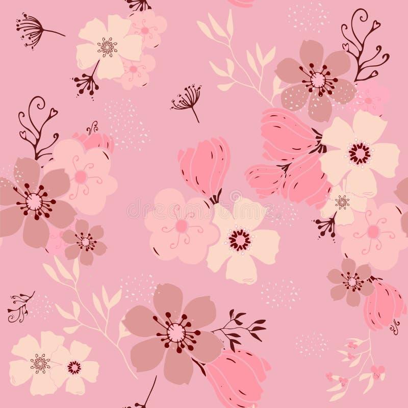 Dirigez le modèle sans couture avec la main dessinant les fleurs roses de griffonnage, herbes, illustration botanique colorée, él illustration de vecteur