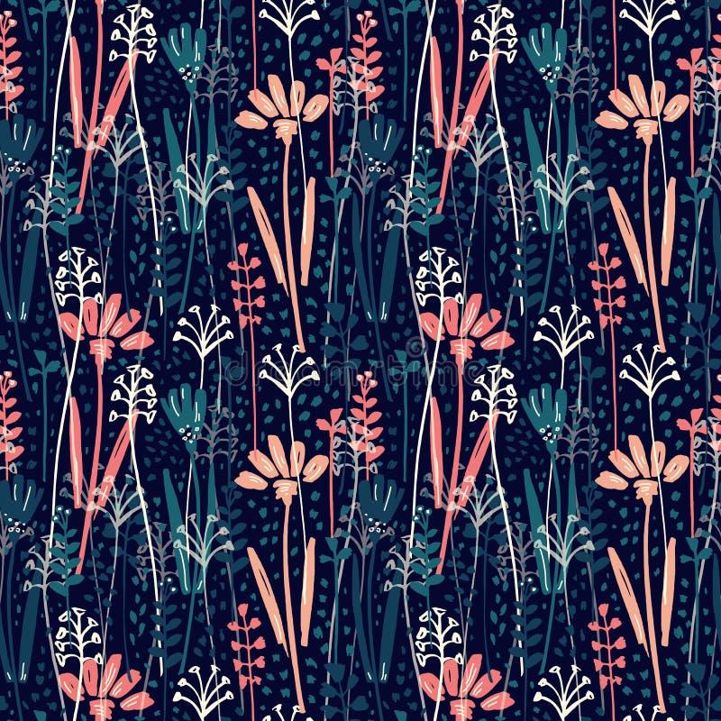 Dirigez le modèle sans couture avec la main dessinant les plantes sauvages, les herbes et les fleurs, illustration botanique colo illustration libre de droits