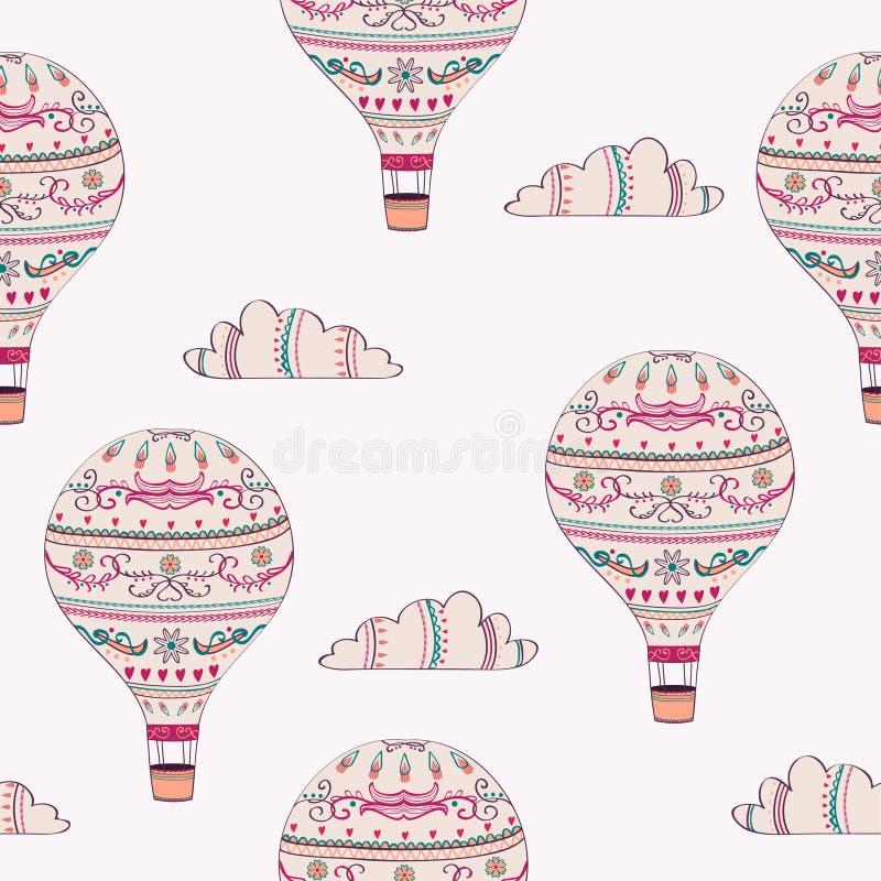 Dirigez le modèle sans couture avec le ballon à air et les nuages chaud illustration libre de droits
