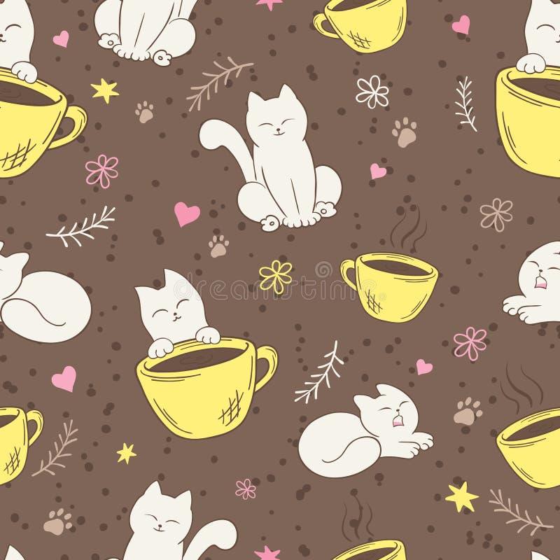 Dirigez le modèle sans couture avec le chat, la tasse, le coeur, la fleur et la branche pelucheux mignons illustration stock