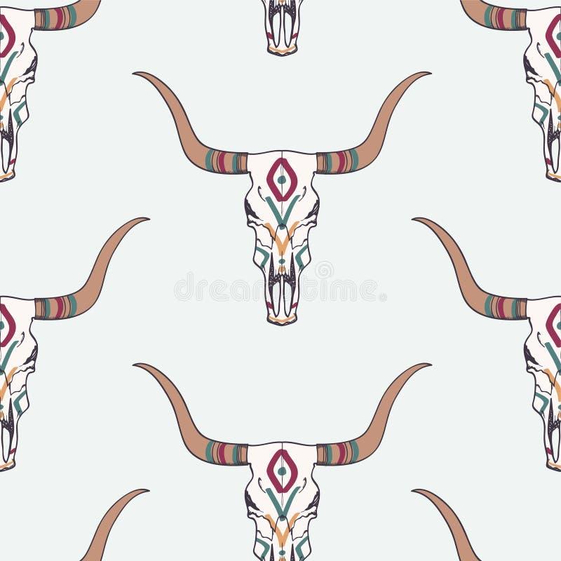 Dirigez le modèle sans couture avec le crâne de taureau et l'ornement ethnique illustration stock