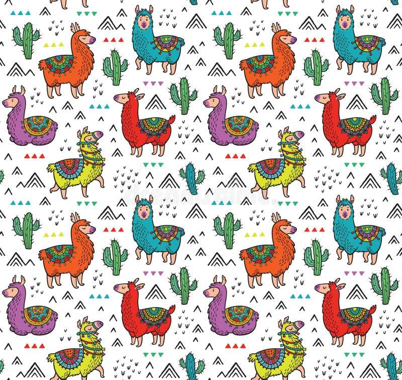 Dirigez le modèle sans couture avec les alpaga, les cactus et les triangles colorés mignons illustration de vecteur