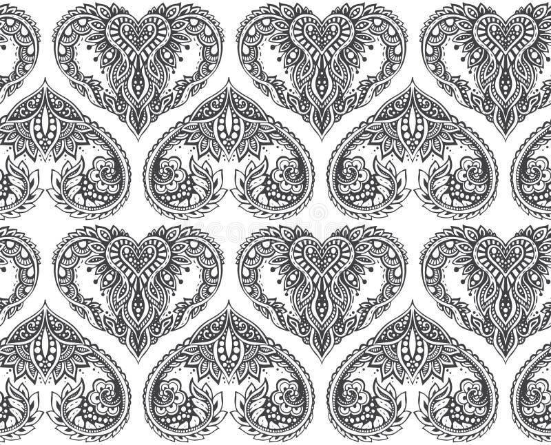Dirigez le modèle sans couture avec les coeurs tirés par la main dans le styl de zentangle illustration libre de droits