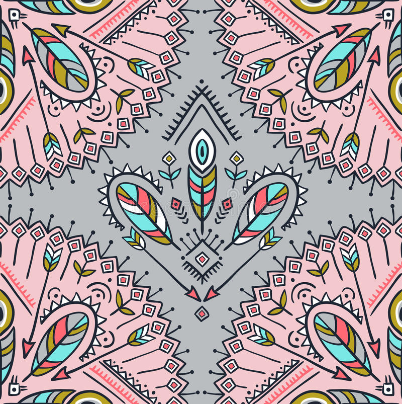 Dirigez le modèle sans couture avec les flèches, les plumes et les ornements ethniques de tribal illustration de vecteur