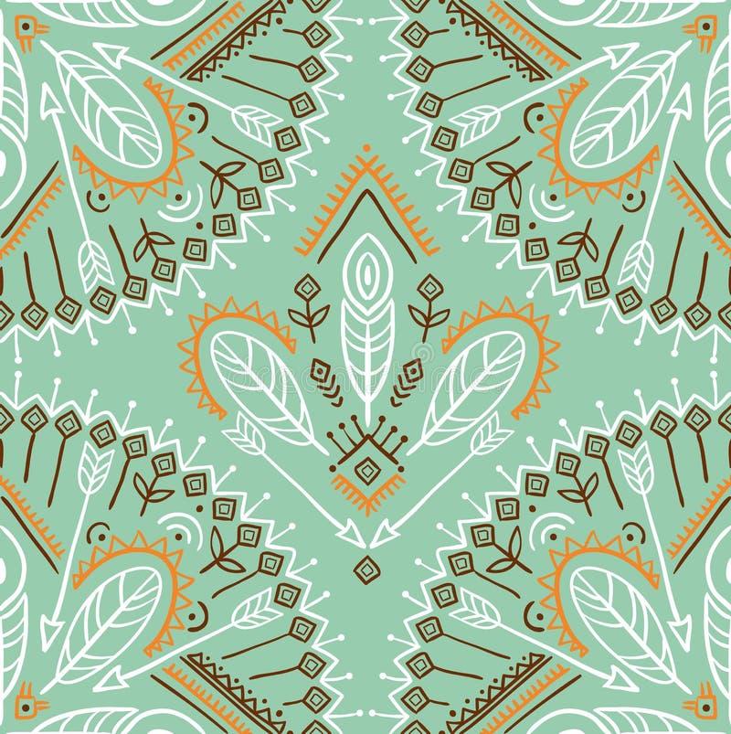 Dirigez le modèle sans couture avec les flèches, les plumes et les ornements ethniques de tribal illustration stock