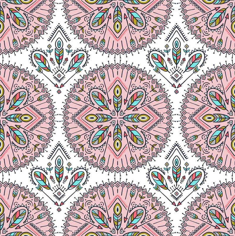Dirigez le modèle sans couture avec les flèches, les plumes et les ornements ethniques de tribal Boho et fond hippie Mot indien illustration stock