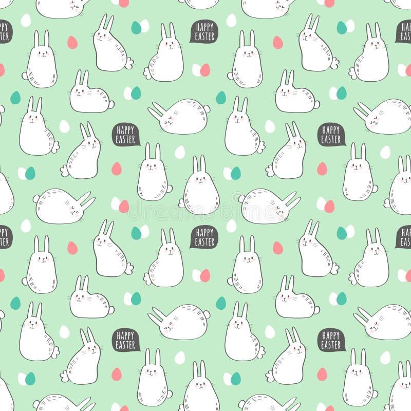 Dirigez le modèle sans couture avec les lapins et les oeufs mignons pour la conception de Pâques illustration de vecteur