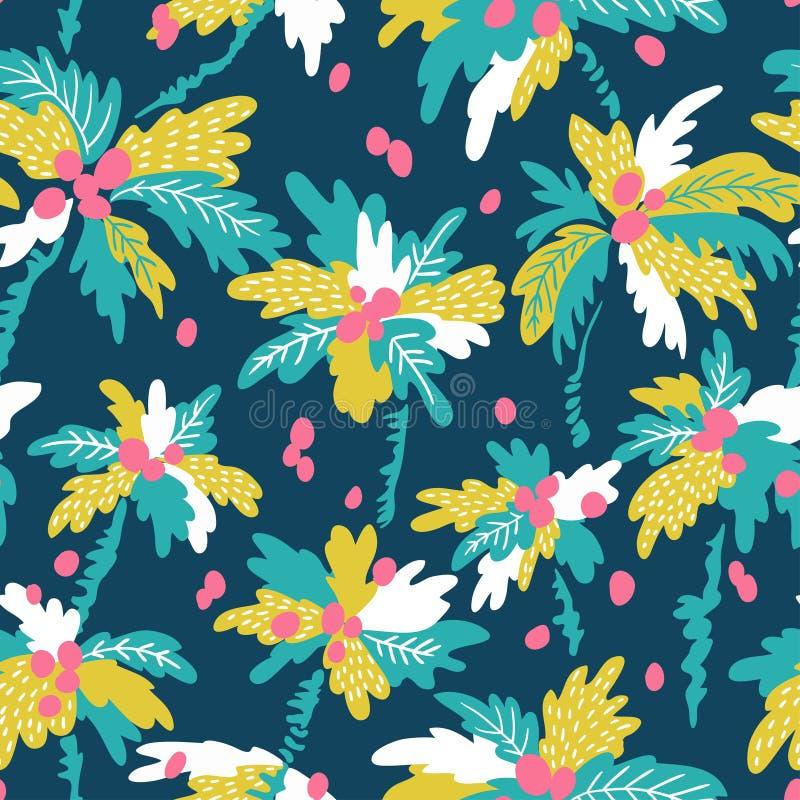 Dirigez le modèle sans couture avec les palmiers tropicaux de noix de coco de silhouettes Été répétant le fond illustration de vecteur