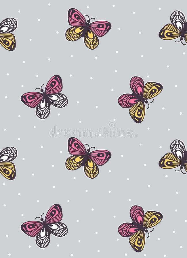 Dirigez le modèle sans couture avec les papillons ornementaux sur le fond de point de polka Illustration de cru illustration de vecteur