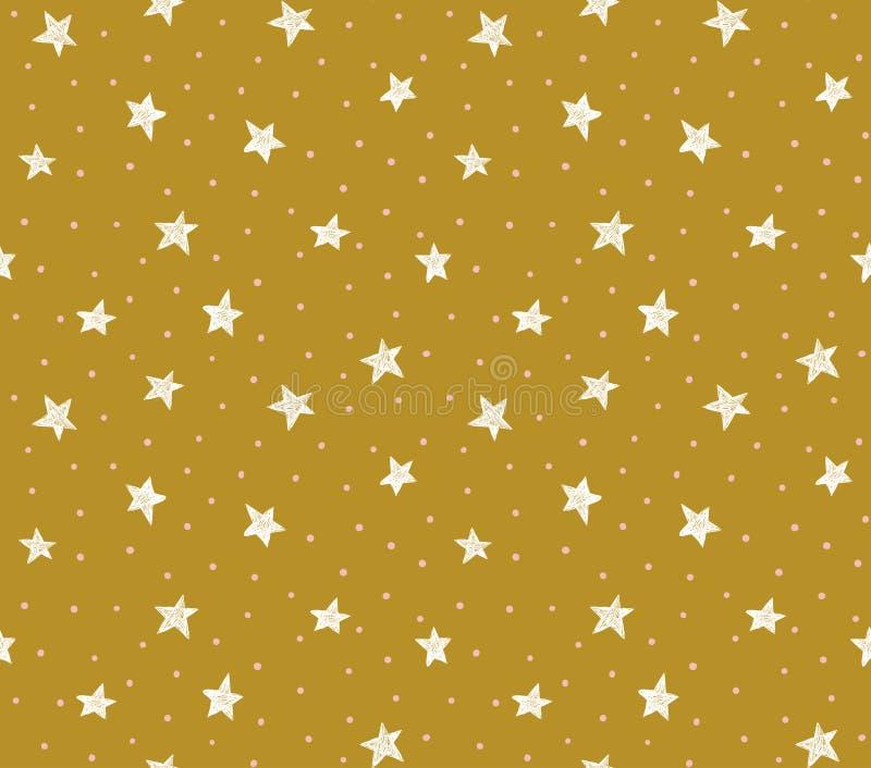 Dirigez le modèle sans couture avec les points et les étoiles chaotiques sur le fond d'or illustration de vecteur