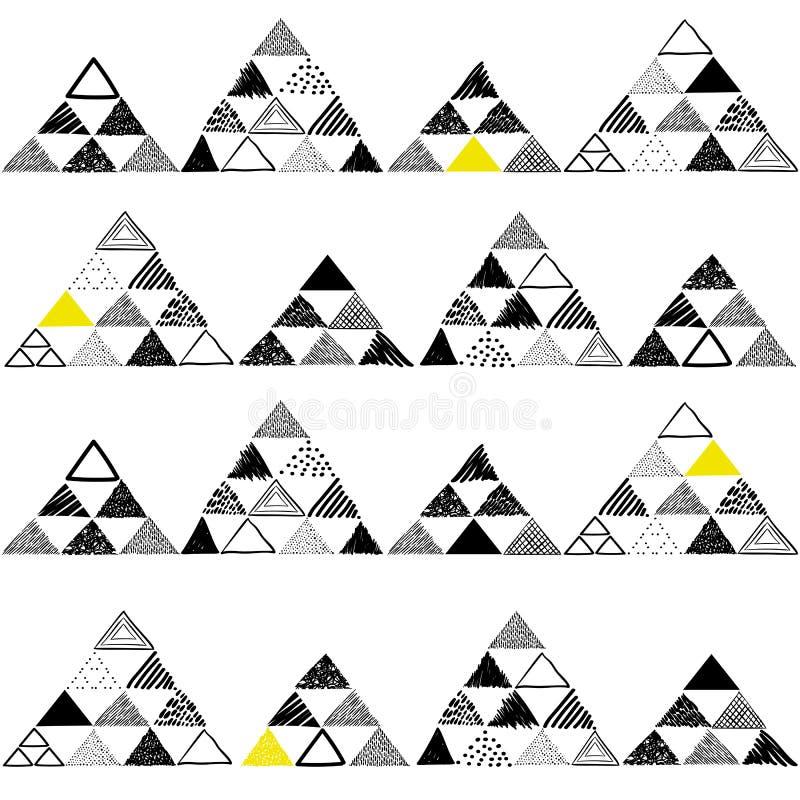 Dirigez le modèle sans couture avec les triangles tirées par la main sur le fond blanc illustration de vecteur