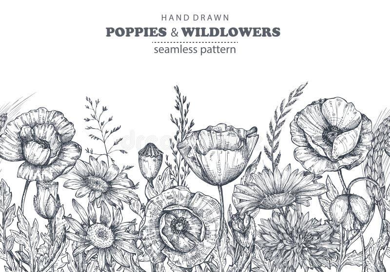 Dirigez le modèle sans couture avec le pavot tiré par la main et d'autres fleurs et plantes illustration libre de droits