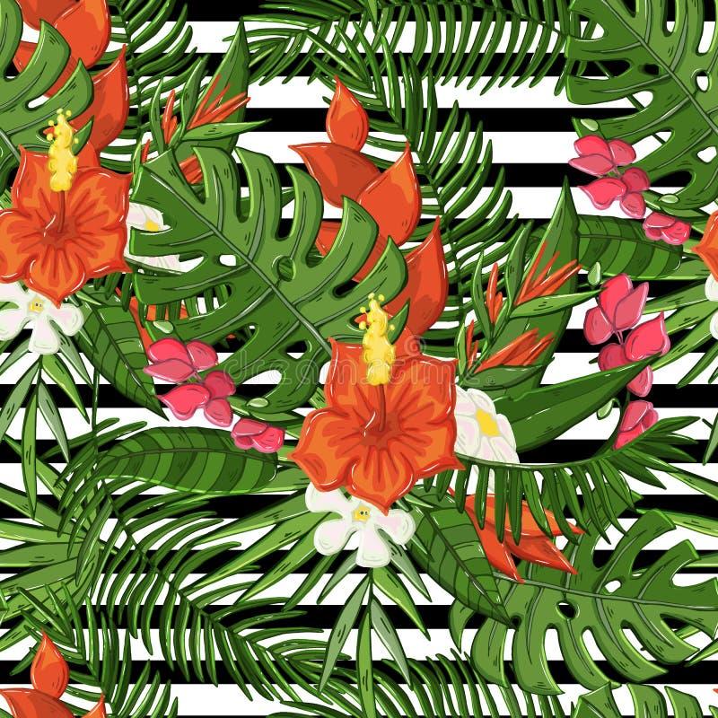 Dirigez le modèle sans couture d'usine avec la ketmie, branche de paume, feuilles de vert de monstera, fleurs illustration stock