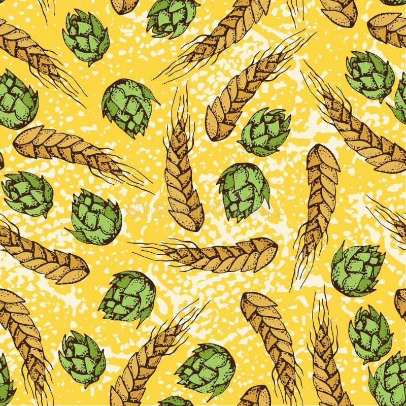 Dirigez le modèle sans couture de bande dessinée du blé, céréales d'orge, grains, houblon en cônes illustration stock