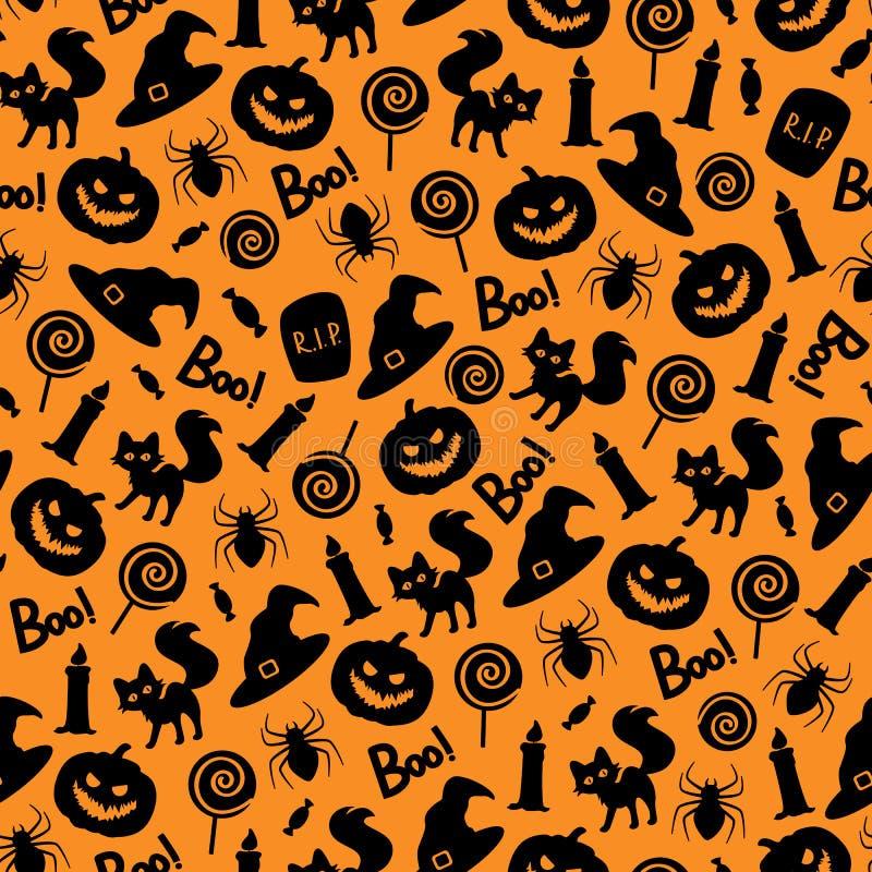 Dirigez le modèle sans couture de Halloween sur le fond orange illustration stock