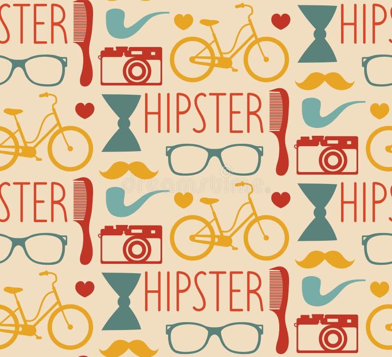 Dirigez le modèle sans couture de hippie avec les lunettes de soleil de mode, l'appareil-photo, la rétro bicyclette, le peigne, l illustration stock