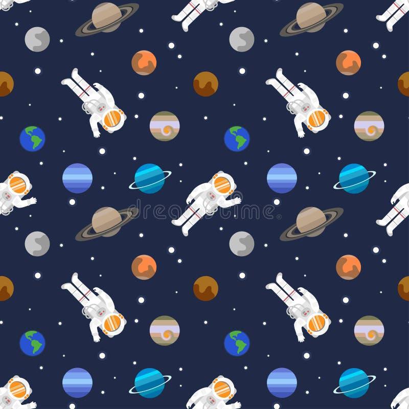 Dirigez le modèle sans couture de l'espace avec des planètes de système solaire illustration de vecteur