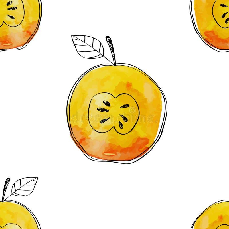 Dirigez le modèle sans couture de la pomme de jaune d'aquarelle avec les éléments tirés par la main noirs Sur le fond blanc Group illustration libre de droits